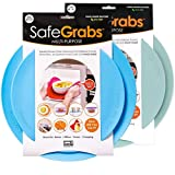 Safe Grabs 2 Color Bundle: Original Multi-Purpose Silicone Microwave Mat   As Seen on Shark Tank, GMA & The View (BPA Free, Heat Resistant, Dishwasher Safe), Blue & Mist