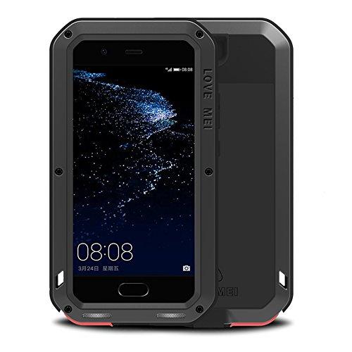 Carcasa para Huawei P10 Plus 5,5 pulgadas, Love MEI Poderosa Carga Pesada Híbrida de Aluminio y Metal, Resistente a los golpes, a la nieve, a la suciedad Resistente al Polvo, Negro
