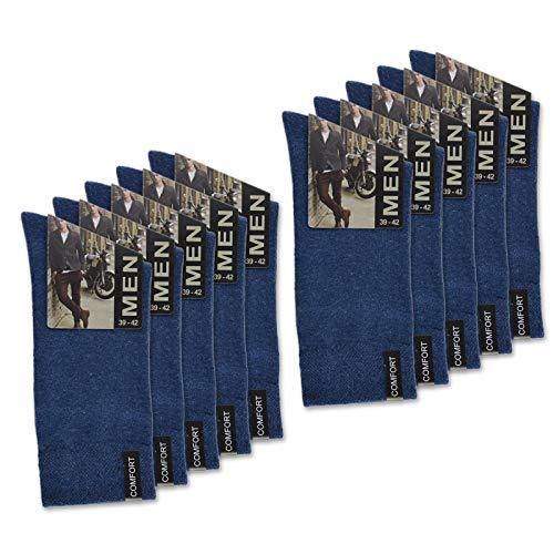 sockenkauf24 10 Paar Herren Socken mit Komfort-Bund aus Baumwolle in Schwarz, Jeans, Grau oder Anthrazit - 15922 (43-46, 10 Paar | Jeans)