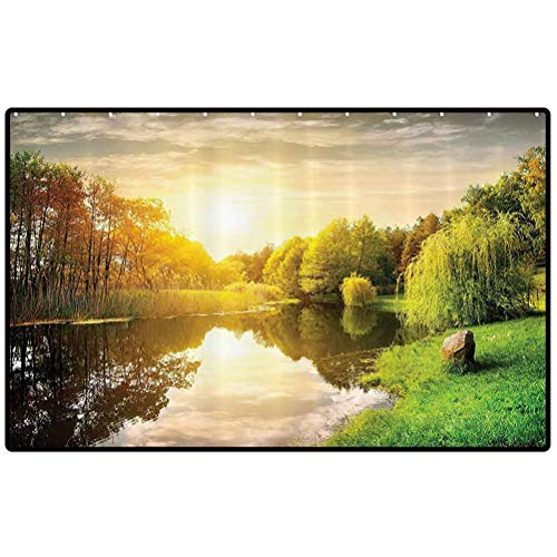 Lake House Decor Collection Door Mats Sunset Over Calm River Grass Willow Trees Grass Rocks Reflection Light Clouds Bathroom Kitchen Decor Area Funny Doormat Indoor Outdoor Rug