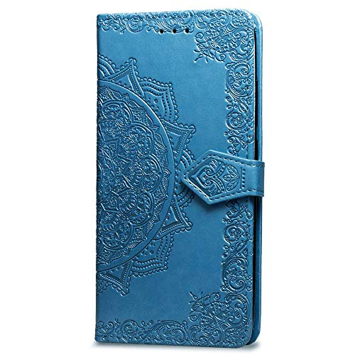 3C Collection Fundas iPhone 6 Tapa de Falsa Piel Mandala Azul, Fundas iPhone 6S Libro Iman con Tarjetero, Grabado Flores de Funda para iPhone 6 y iPhone 6S Antigolpes Mujer