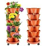 WADEO Maceta tridimensional multicapa apilable, 6 macetas de fresa para balcón, jardín, interior y exterior