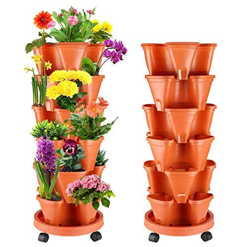 WADEO Pflanzturm mit Stapelbaren Pflanztöpfen, Vertikaler Garten mit 6 Etagen, Stapelbar Erdbeere, Kräuter, Blumen, und Gemüse Übertopf, Platzsparend für bis zu 12 Pflanzen & Kräuter