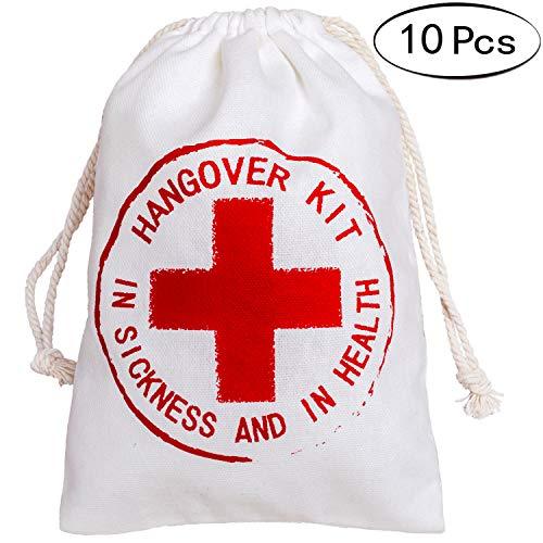 Letjolt 10 Pcs Hangover Kit Bags for Bachelorette Hangover Party Relief Kits Bags for Bachelor Hangover Party Welcome Bags for Party Favor Bags for Wedding Favor Bags(5x7 inch, Red Cross)