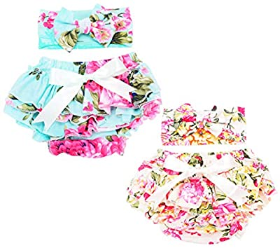 QandSweet Baby Girl Stretchy Bloomers with Headband Summer Diaper Covers 2 Conts (6-15 Months, Green+Beige)