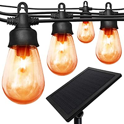 SUPREPOWER Solar Outdoor String Lights, 48 ft with 15 Shatterproof Plastic Bulbs (4.5W), Waterproof Patio Lights with 6 Light Modes for Bistro, Backyard, Wedding Decor (Flame Color + Warm White)