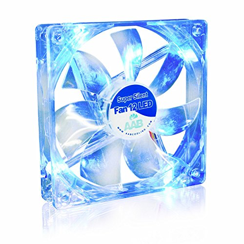 AAB Cooling Super Silent Fan 12 Blue LED - stil en Efizient 120mm ventilatorventilator met 4 anti-vibratie pads en blauwe LED-verlichting - processor ventilator, PC ventilator, ventilator LED blauw, CPU-koeler