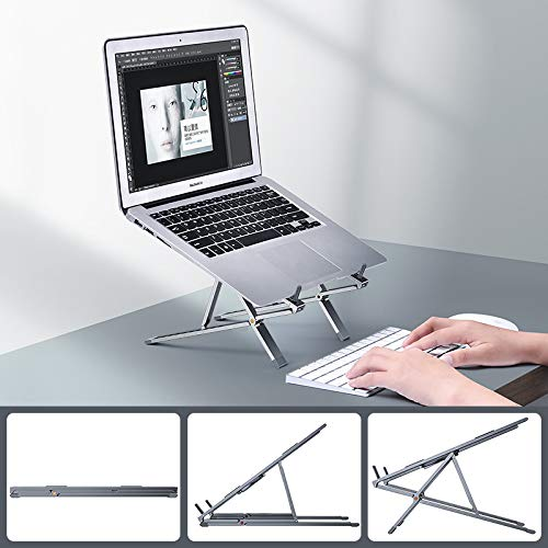 Soporte plegable de aluminio para portátil YOPU, soporte ajustable para ordenador portátil, tablet, iPad, Lenovo, HP, Dell hasta 17 pulgadas (gris)