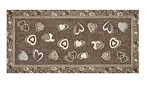 HomeLife Tappeto Cucina Antiscivolo 55X140 Made in Italy | Passatoia Moderna Colorata Stile Shabby Chic a Cuori | Tappeto Runner Lungo Lavabile [55X140, Fango]