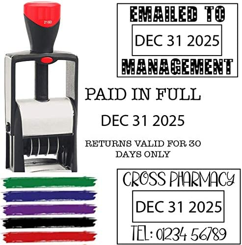 6 Year Band 2020 Date Stamp Self Inking Personalize with 2 3 Lines Custom Text Self Inking Business product image