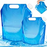 LOVEXIU Bidón de Agua Plegable 2 Piezas, Agua Potable Plegable Portátil [5L + 10L], Bidón de Agua de Viaje, Bolsa de Agua Plegable para Senderismo, Camping, Picnic, Barbacoa de Viaje