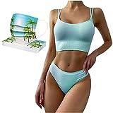 VCTKLN 10PC De_Mascarilla_Desechable + Sunny Beach Bikini Combo para el verano de 2021 Mascarillas Bikinis Mujer Sexy,Bikinis Mujer Push up,Bikinis Mujer Tanga (S)