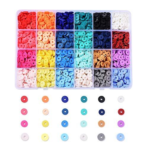 Ornaland 24 Colores Cuentas Espaciadoras de Arcilla Polimérica Hechas a Mano, Disco de 4mm / 6mm / 8mm / Cuentas Sueltas Redondas Planas Heishi para Hacer Joyas DIY