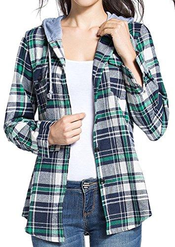 BomDeals Women's Classic Plaid Cotton Hoodie Button-up Flannel Shirts (XXL, Green)