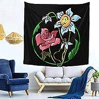 寝室の居間の寮の装飾のための花の装飾的な壁の毛布のタペストリー60X40インチの黒