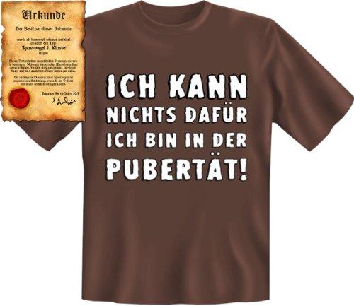 Witziges Shirt für Teenies!!! Ich kann nichts dafür ich bin in der Pubertät! T-Shirt Mit Urkunde Gr: S Farbe: braun