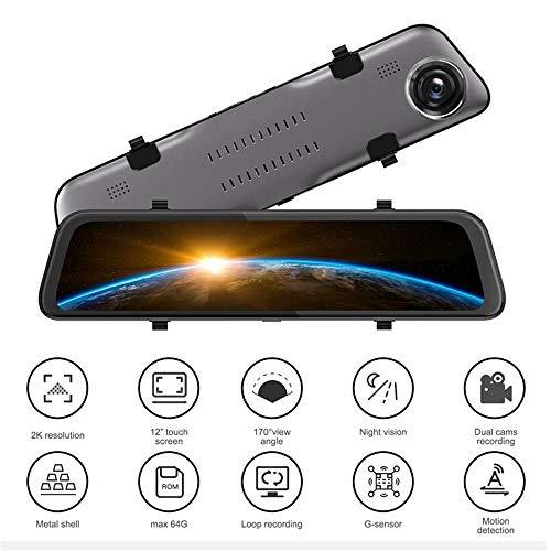 Dash Cam, IPS 12 inch dual touchscreen dashcam FHD 1080P achteruitrijcamera dashcams met achteruitrijcamera waterdicht