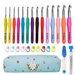 【Great Value】You get 14 Ergonomic Crochet Hooks,9 Yarn Needles,10 Stitch Markers,1 Scissors& Case.Fantastic value for your buck.Stitch markers,scissors and yarn needles are a great bonus in a convenient case.The crochet hook set is a great crochet st...