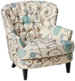 Christopher Knight Home Tafton Fabric Club Chair, White / Blue Floral