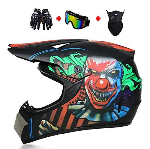 YZCM Motocross Helmet with Goggles Neck Gaiter Gloves, Adult DOT Certified Off Road Dirt Bike ATV UTV Helmet for Men Women, Downhill 4 Wheeler MX MTB BMX Helmet with Unique Graphic,Clown, Large