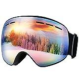 Mpow Masque de Ski Lunettes de Ski Femme et Homme Masque Snowboard Double Grande Lentille OTG Sphérique Italienne Anti-UV400 Noël
