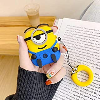 Finger Ring Strap Wireless Earphone Protective Cover 3D Minions Silicone Headphone Case for Apple AirPods 1 2 Wired Charging Box (1)