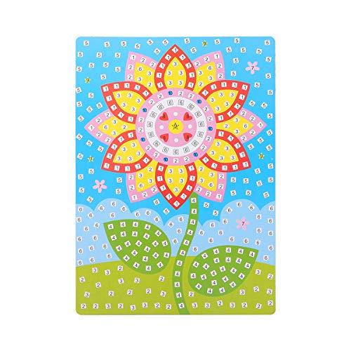 SUPVOX Mosaik Aufkleber Kunst Klebrige DIY Handmade Art Kits Für Kinder 3D DIY Pinup Bild Bastelbedarf Für Kindergarten (Blume)