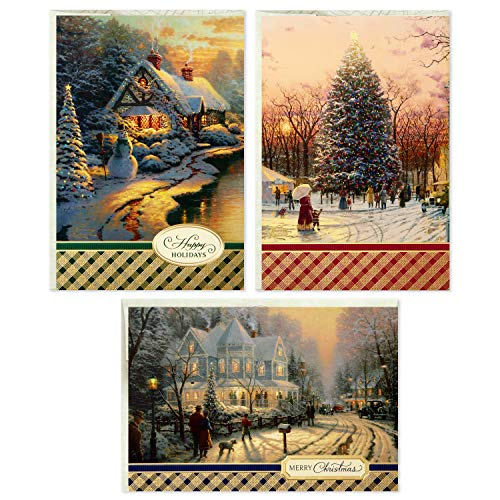 Hallmark Thomas Kinkade Boxed Christmas Cards Assortment, Snowy Scenes (3 Designs, 24 Christmas Cards with Envelopes)