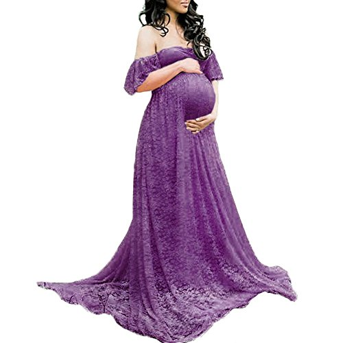 Women's Maternity Lace Flower Off Shoulder Long Dress Sweetheart Baby Shower Wedding Photo Prop Maxi Trailing Ball Gown Purple XL