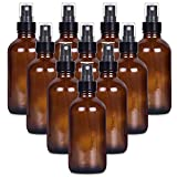 4 oz Empty Small Glass Spray Bottles for Cleaning Solutions,4oz Amber Glass Mister Spray Bottle for Essential Oils, 10 Pack