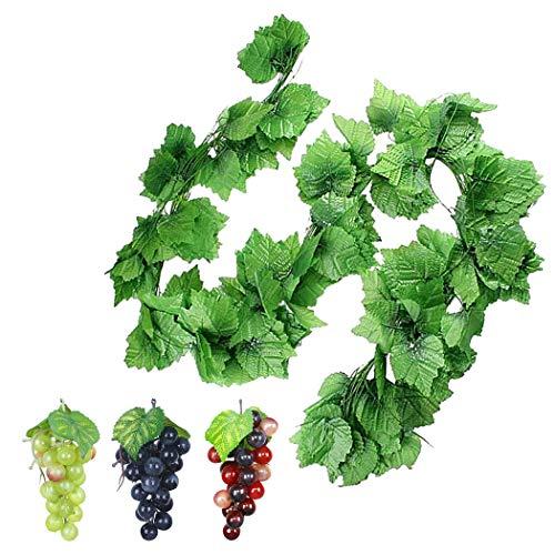 Justdolife 12 Strings Künstliche Rebe Dekorative Hängende Weinblätter Gefälschte Grünrebe Mit Künstlichen Trauben