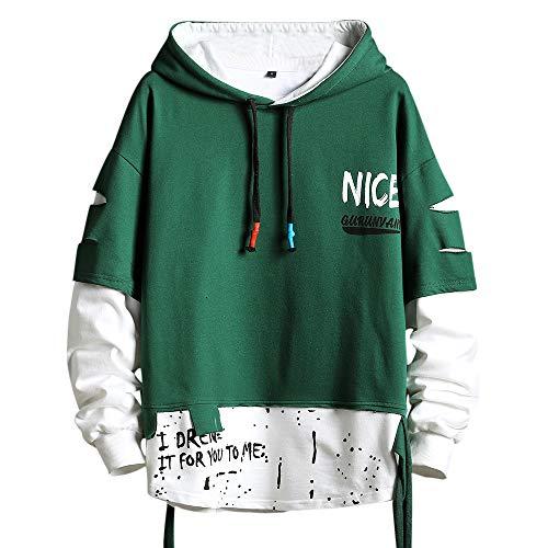 Felpa con cappuccio, stile hip hop, patchwork, taglia S, da uomo, colore: nero - Verde - X-Large