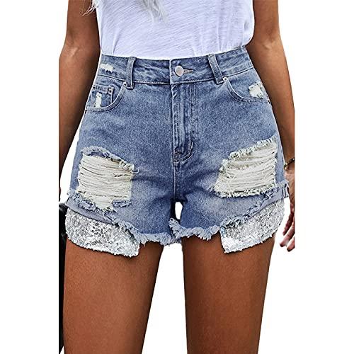 Pantalones Cortos de Mezclilla para Mujer Pantalones Cortos de Mezclilla Rasgados con Personalidad Retro de Verano con Bolsillos Pantalones Cortos Casuales Desgastados Lavados S