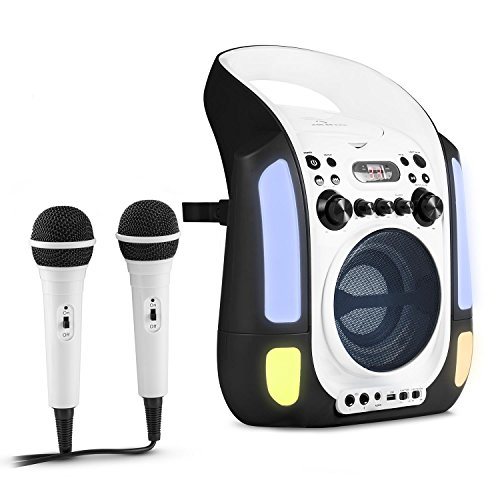 Auna Kara Illumina • Karaoke per Bambini • Kit Karaoke • 2 dinamici microfoni • Lettore CD+G • Top laoding • capacitá MP3 • Uscita Video • usicta Audio • Effetto Eco • Funzione AVC • Nero-Bianco