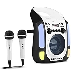 auna Kara Illumina - Equipo de Karaoke , Reproductor de CD y MP3 , Puerto USB , Entrada AUX , Salida de Video RCA , 2 x micrófonos 6,3 mm , Iluminación LED , Regulador Volumen , Color Blanco
