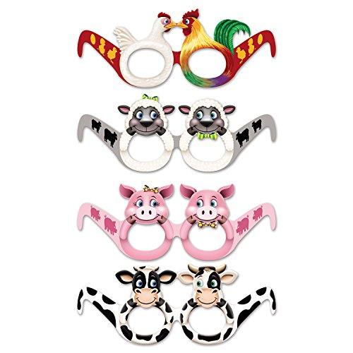 Beistle 54828 Farm Animal Eyeglasses, 12 Piece, Assorted