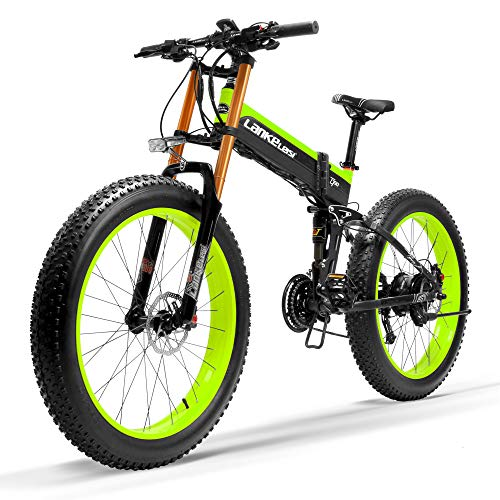 LANKELEISI T750Plus New Electric Mountain Bike 5-Level Pedal Assist Sensor,Powerful Motor,48V 14.5Ah Li-ion Battery Upgraded to Downhill Fork Snow Bike (Black Green, 1000W + 1 Spare Battery)