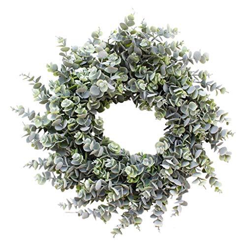MagiDeal Guirnalda de eucalipto Verde Artificial, 18 en Guirnalda Verde con ratán Natural Mini Primavera Verano Guirnalda para la decoración de la - Escarcha Blanca