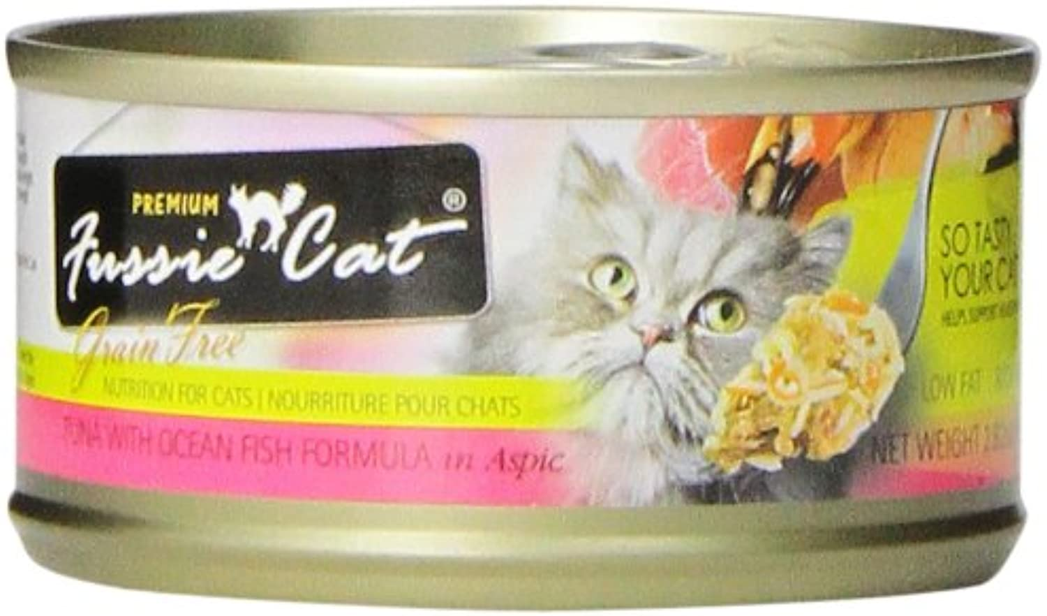 Fussie Cat Premium Tuna with Ocean Fish Canned Cat Food , 2.82oz. Cans, Pack of 24