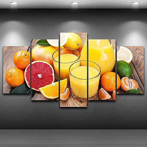 GHTAWXJ Schilderij Muur Art Olie Foto's Home Decor 5 Panel Poster Fruit Sap Hd Gedrukt Op Doek Voor Woonkamer