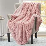 Hyde Lane Fluffy Cute Throw Blankets for Couch Sofa - 2 Way Reversible Ultra Soft Long Faux Fur Couch Throw Blanket, Shaggy Cozy Blanket for Girls Easy Care Washable Lightweight, 50x60 Blush Rose Gold