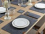 Famibay Filz Tischsets und Untersetzer Abwaschbar Platzsets 6er Set Tischuntersetzer Platzdeckchen Dunkelgrau Filzuntersetzer Filzmatte (Tiefgrau) - 6