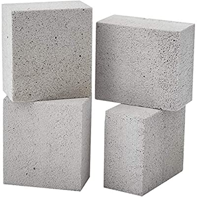 Non-Toxic, Chemical-Free Grey Grill Brick 4 Pack. Best Reusable BBQ Cleaning Block for Flattops, Grills and Smokers. Non Scratch Pumice Stone is the Perfect Tool for Scouring Griddles and Barbecues