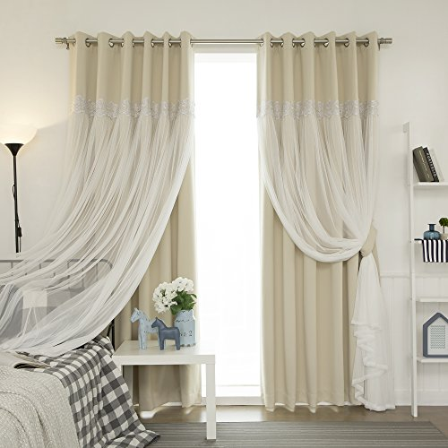 Best Home Fashion Pleated Tulle Lace Overlay Thermal Insulated Blackout Curtains - Stainless Steel Nickel Grommet Top - Beige - 52