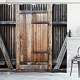 ABAKUHAUS Antiguo Cortina de Baño, Puerta rústica de Madera Rural, Material Resistente al Agua Durable Estampa Digital, 175 x 200 cm, marrón Naranja