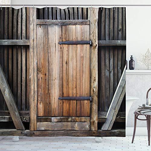ABAKUHAUS Antiek Douchegordijn, Rustiek Landelijk Houten Deur, stoffen badkamerdecoratieset met haakjes, 175 x 240 cm, bruin Oranje