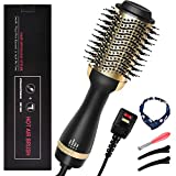 Hair Dryer Brush, 4-in-1 Hot Air Brush in One with Hair Band, Negative Ion Hair Dryer & Volumizer Brush, 3 Temperature Levels Anti Scald Oval Blow Dryer Brush with 2 Hairpins for Women