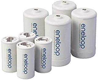 Eneloop Spacers 4 C Size Spacers & 4 D Size Spacers for Use with Ni-MH Rechargeable AA Battery Cells & Case Pack of 8