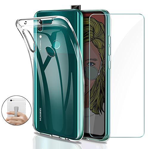 Younme Cover per Huawei P Smart Z Custodia, Trasparente Custodia Sottile Silicone TPU Case + Pellicola Protettiva in Vetro Temperato [con Antiscivolo Mano Cinturino] Compatibile con Huawei P Smart Z