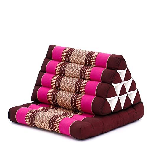 Leewadee colchón Plegable con un segmento – Futón con cojín Hecho a Mano de kapok ecológico, colchoneta tailandesa Ancha, 75 x 50 cm, castaño Rosado